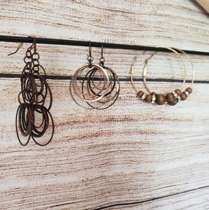 Set of 3 brown/gold earrings